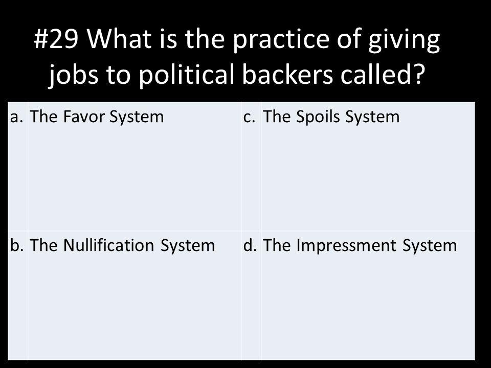 #29 What is the practice of giving jobs to political backers called