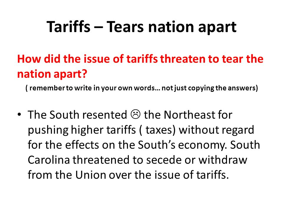 Tariffs – Tears nation apart