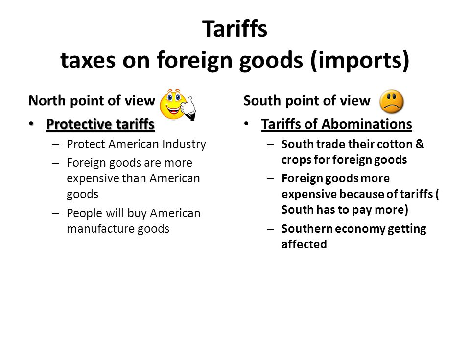 Tariffs taxes on foreign goods (imports)