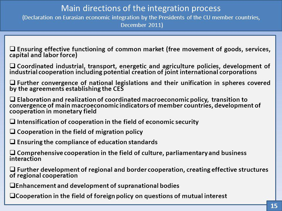Main directions of the integration process (Declaration on Eurasian economic integration by the Presidents of the CU member countries, December 2011)
