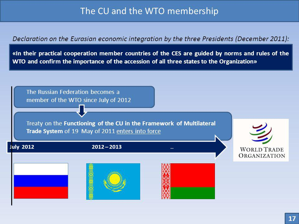 The CU and the WTO membership
