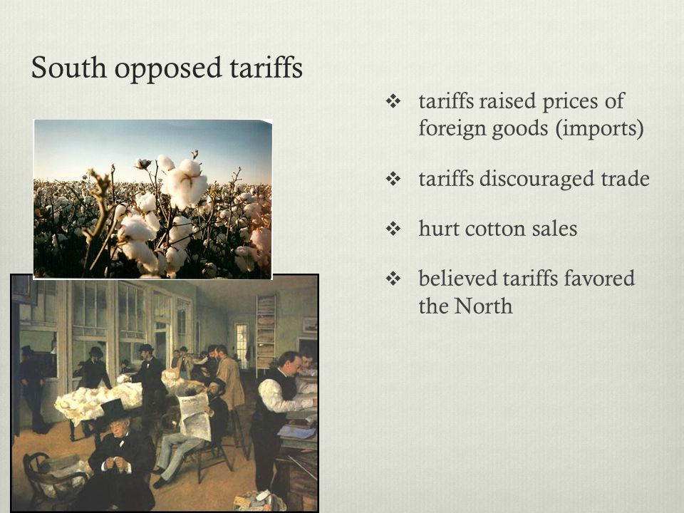 South opposed tariffs tariffs raised prices of foreign goods (imports)