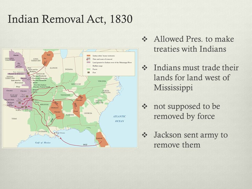 Indian Removal Act, 1830 Allowed Pres. to make treaties with Indians