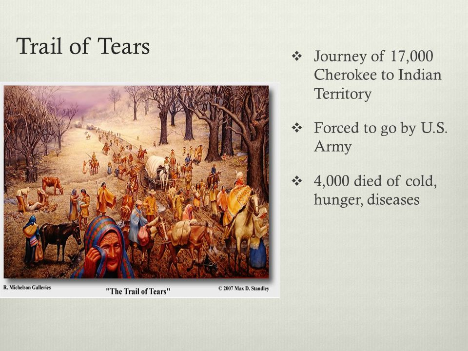Trail of Tears Journey of 17,000 Cherokee to Indian Territory