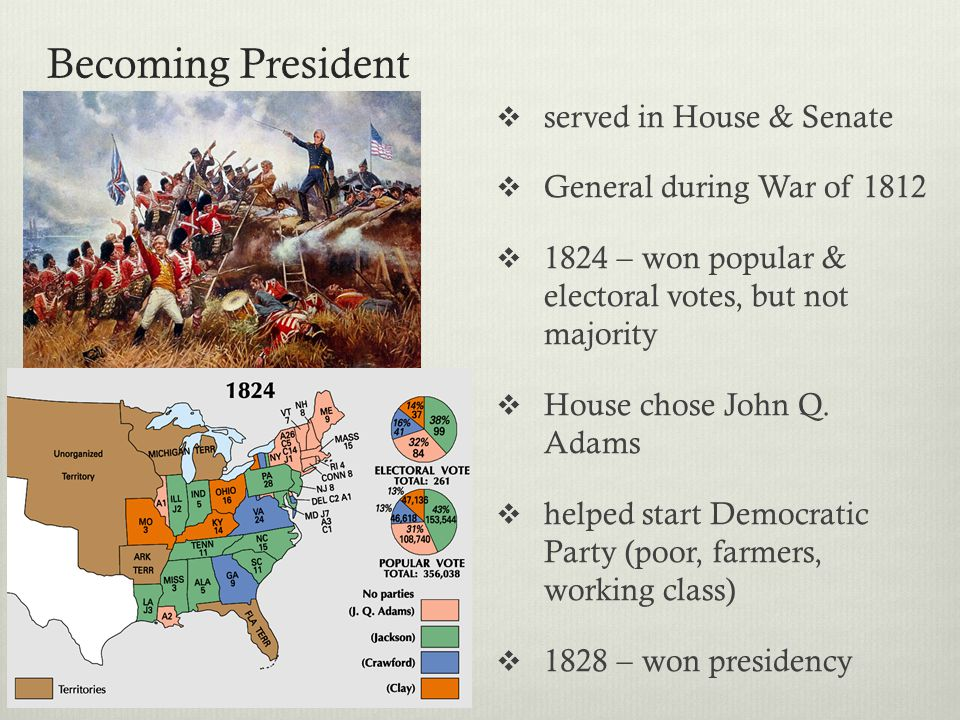 Becoming President served in House & Senate General during War of 1812