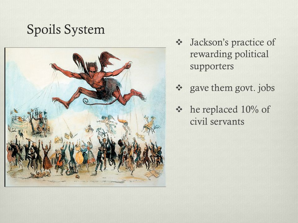 Spoils System Jackson's practice of rewarding political supporters