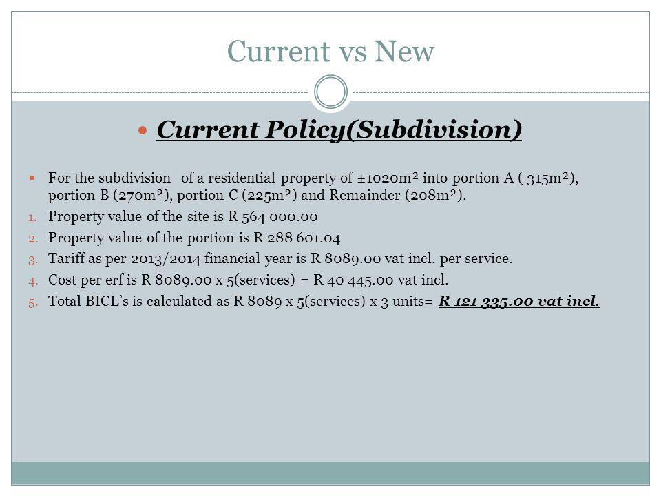 Current Policy(Subdivision)
