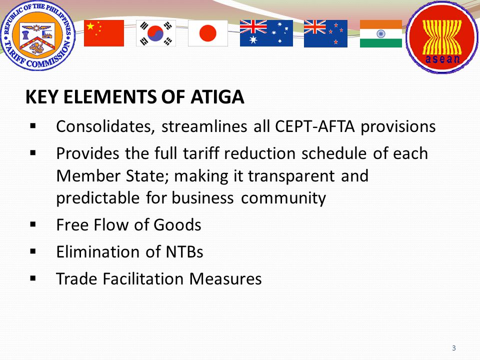 KEY ELEMENTS OF ATIGA Consolidates, streamlines all CEPT-AFTA provisions.