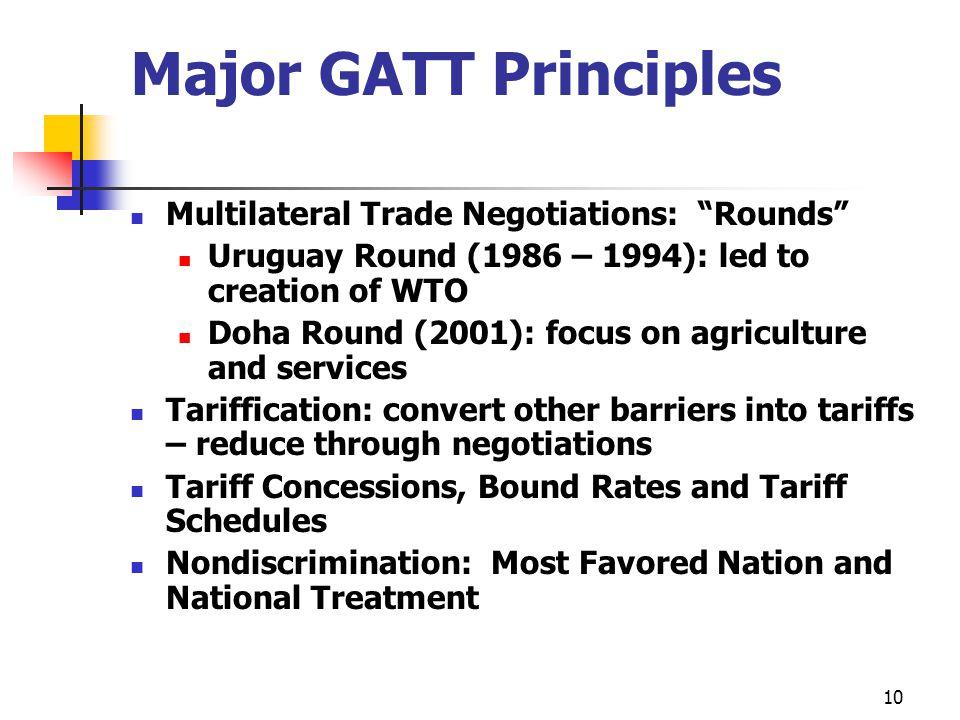 Major GATT Principles Multilateral Trade Negotiations: Rounds