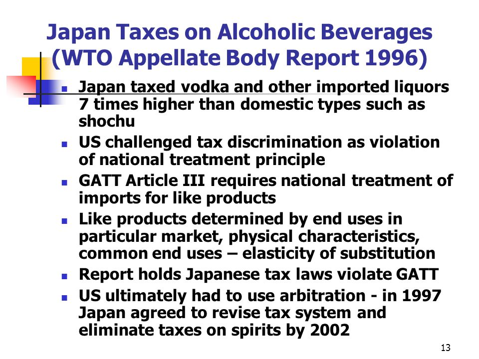 Japan Taxes on Alcoholic Beverages (WTO Appellate Body Report 1996)