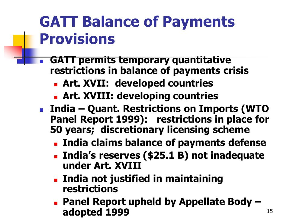 GATT Balance of Payments Provisions