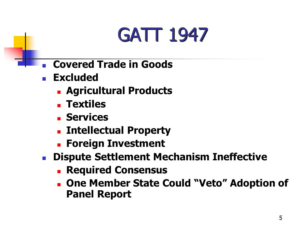 GATT 1947 Covered Trade in Goods Excluded Agricultural Products