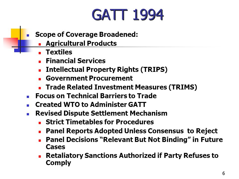 GATT 1994 Scope of Coverage Broadened: Agricultural Products Textiles