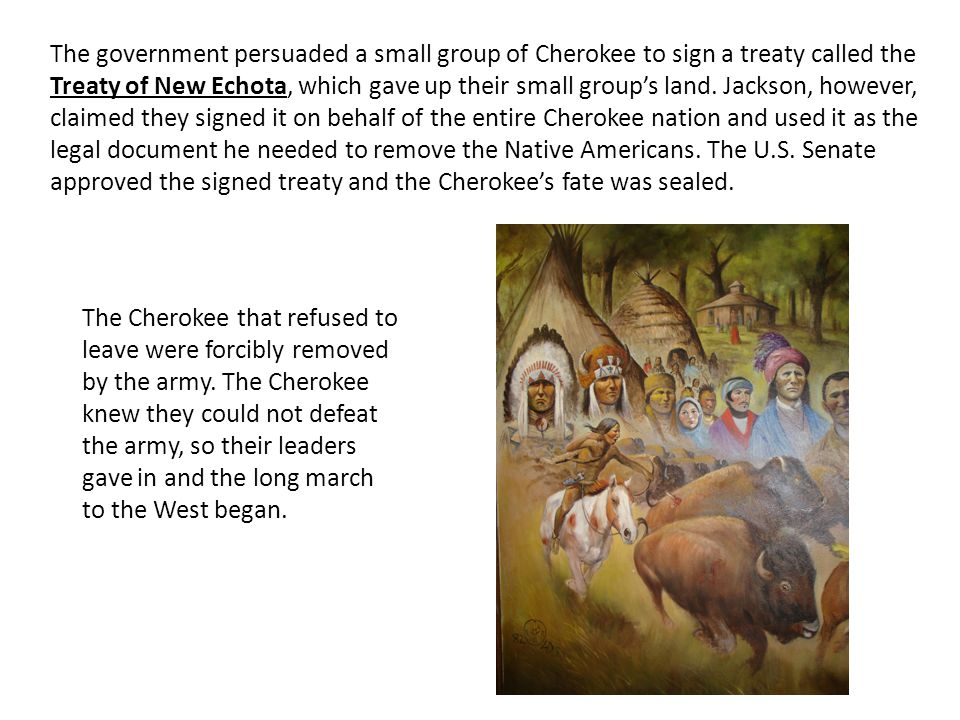 The government persuaded a small group of Cherokee to sign a treaty called the Treaty of New Echota, which gave up their small group's land. Jackson, however, claimed they signed it on behalf of the entire Cherokee nation and used it as the legal document he needed to remove the Native Americans. The U.S. Senate approved the signed treaty and the Cherokee's fate was sealed.