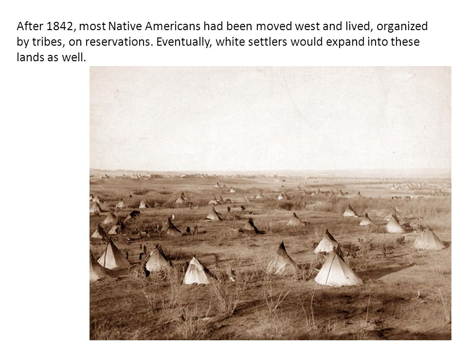 After 1842, most Native Americans had been moved west and lived, organized by tribes, on reservations.