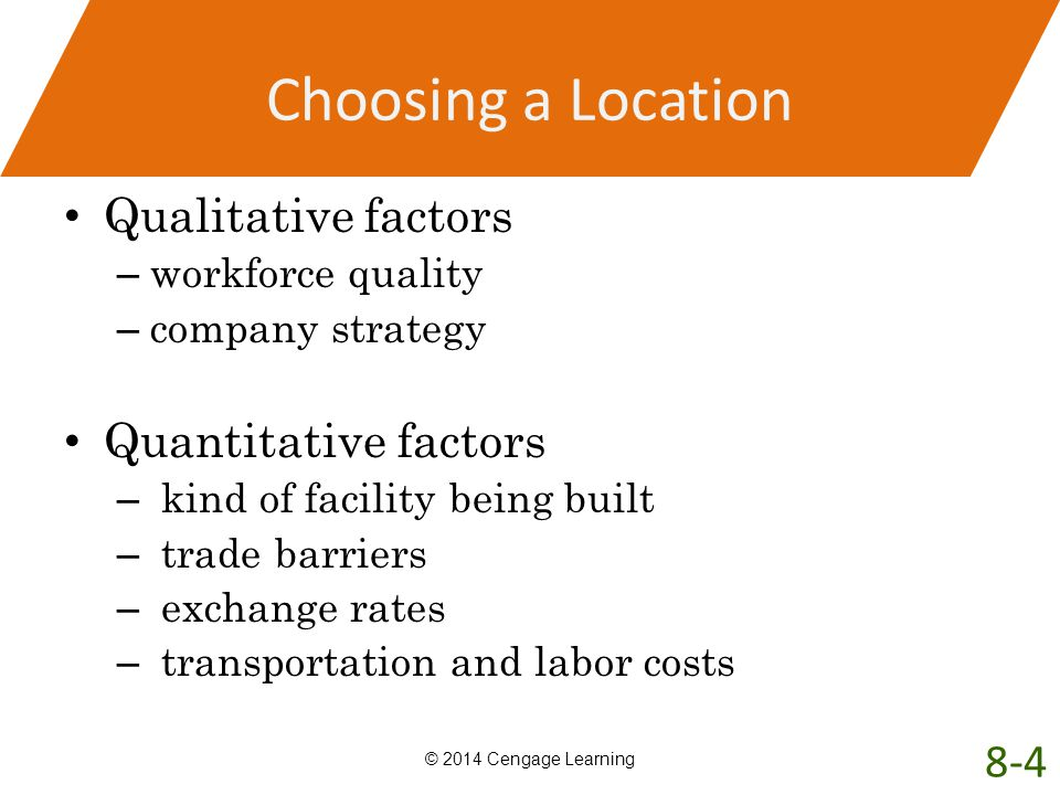 Choosing a Location Qualitative factors Quantitative factors 8-4