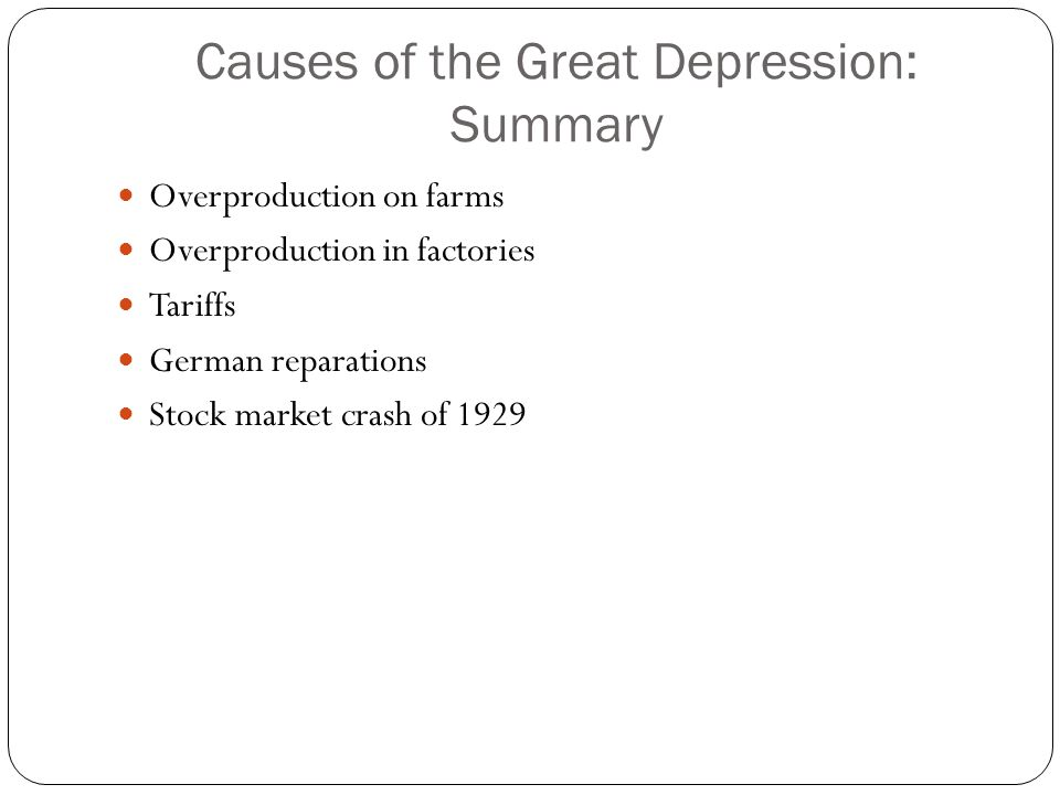 Causes of the Great Depression: Summary