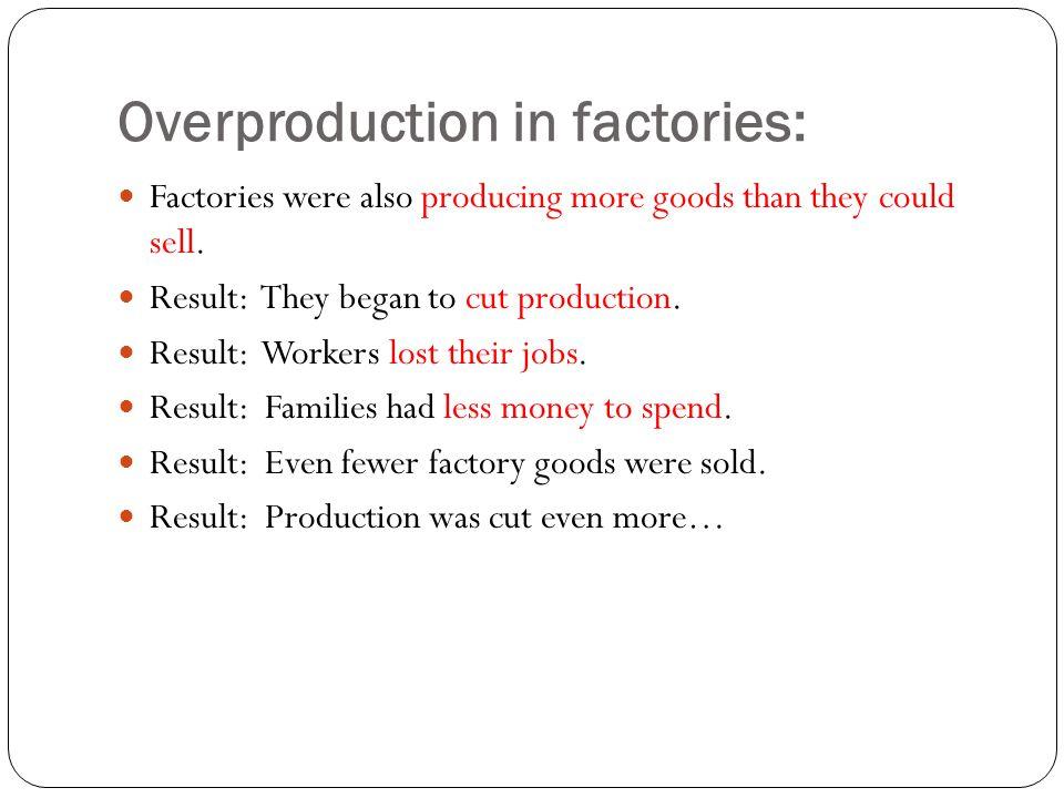 Overproduction in factories: