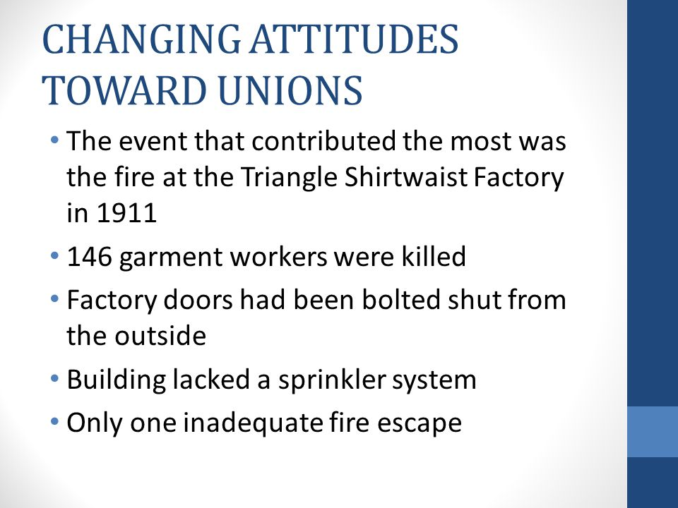CHANGING ATTITUDES TOWARD UNIONS