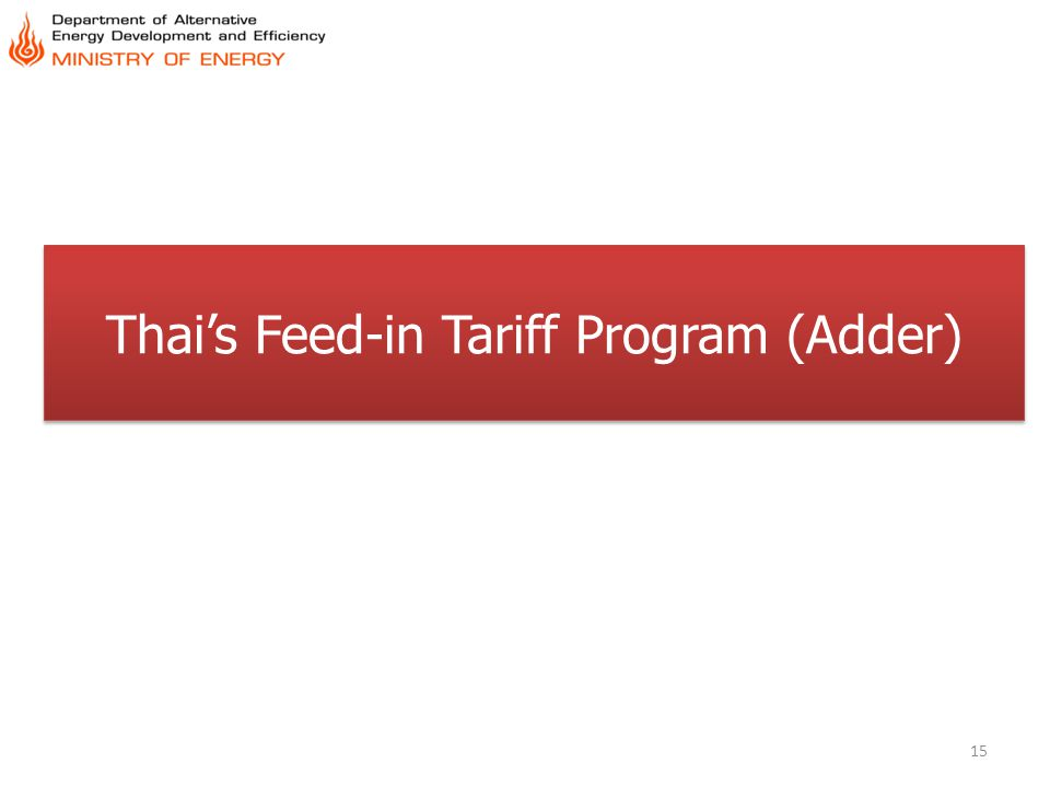 Thai's Feed-in Tariff Program (Adder)