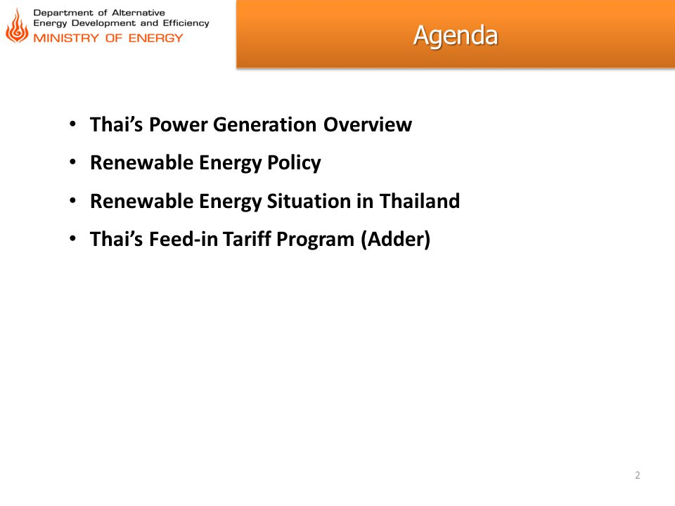 Agenda Thai's Power Generation Overview Renewable Energy Policy