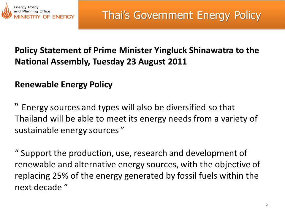 Thai's Government Energy Policy