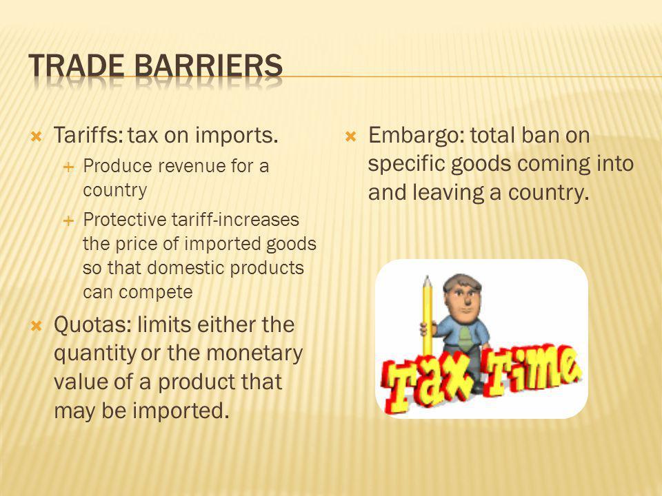 Trade Barriers Tariffs: tax on imports.