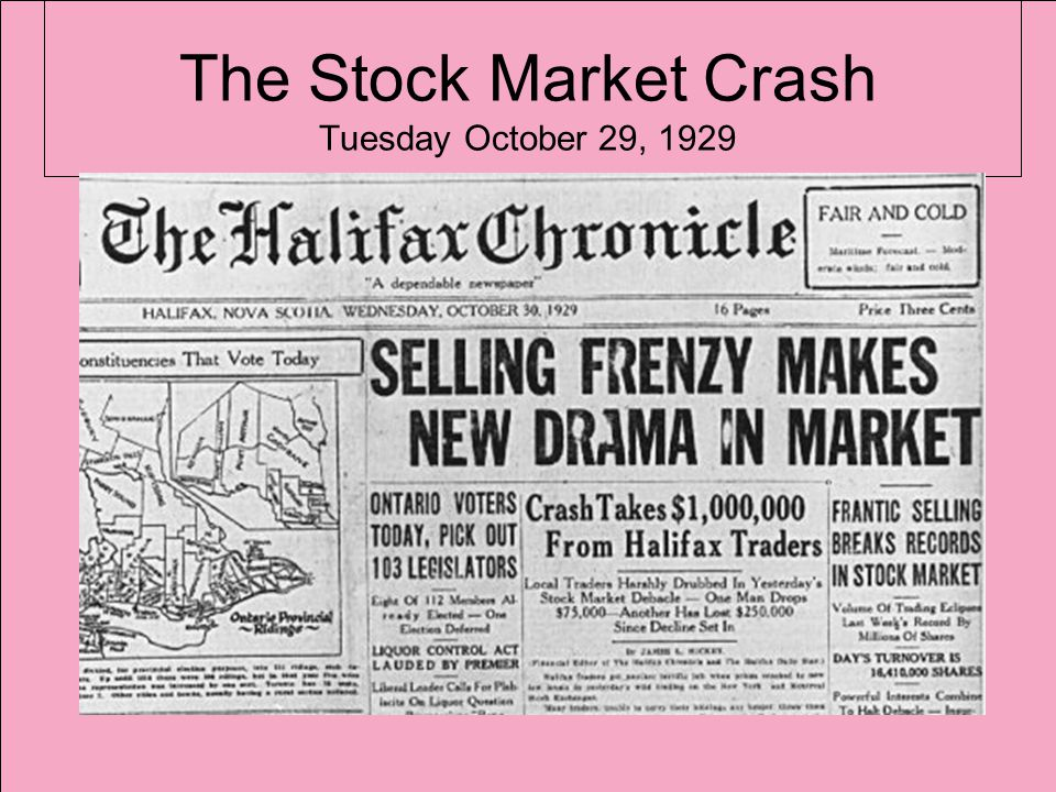 The Stock Market Crash Tuesday October 29, 1929