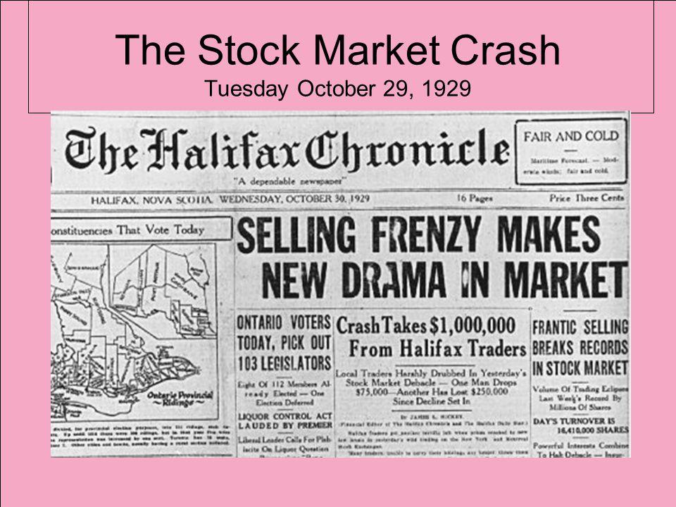 The Stock Market Crash Tuesday October 29, 1929