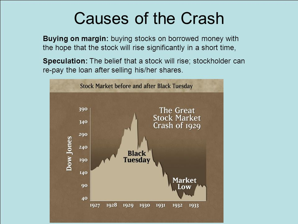 Causes of the Crash Buying on margin: buying stocks on borrowed money with the hope that the stock will rise significantly in a short time,