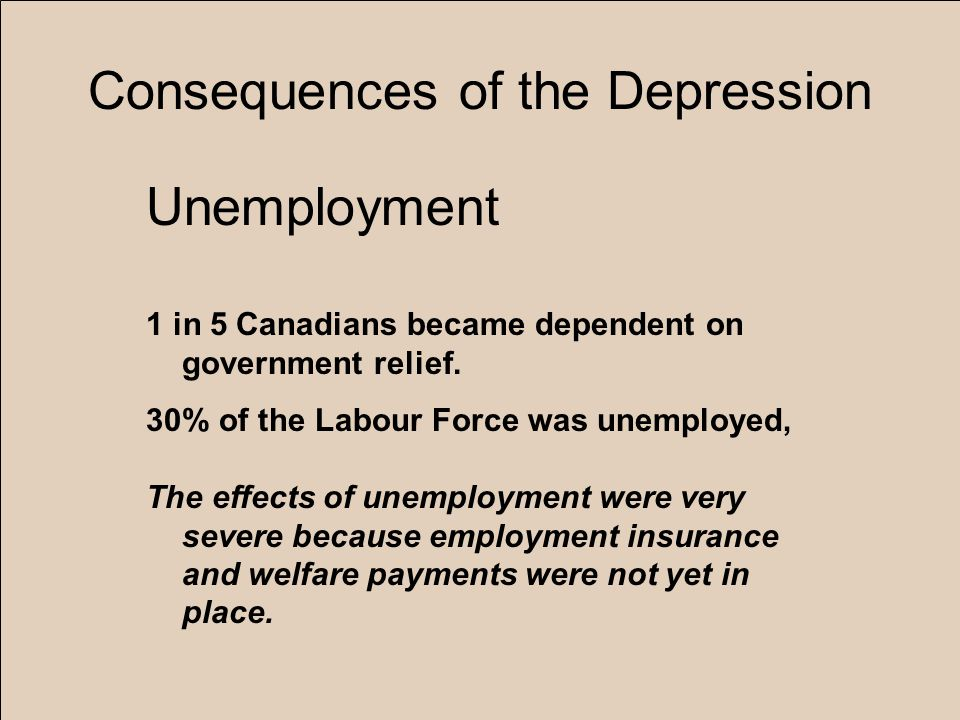 Consequences of the Depression