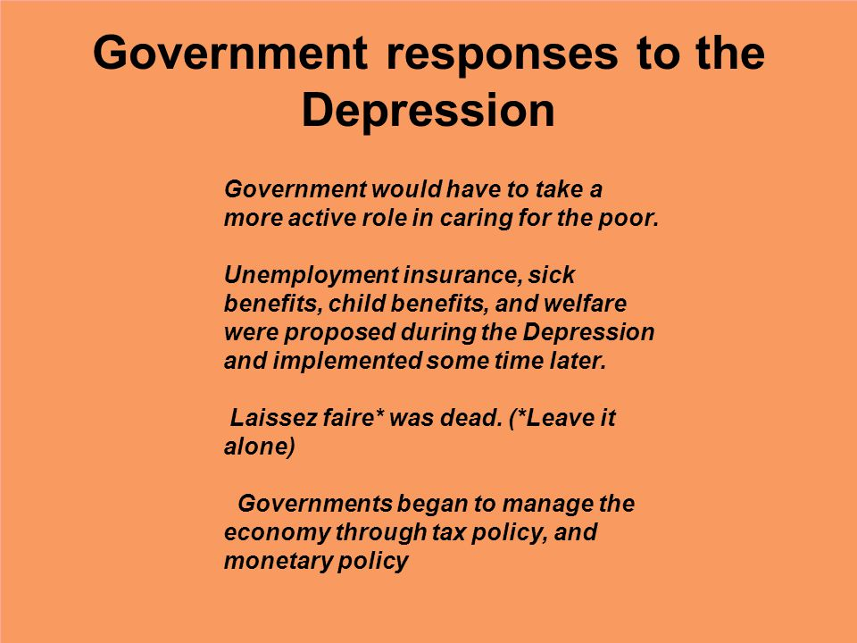 Government responses to the Depression