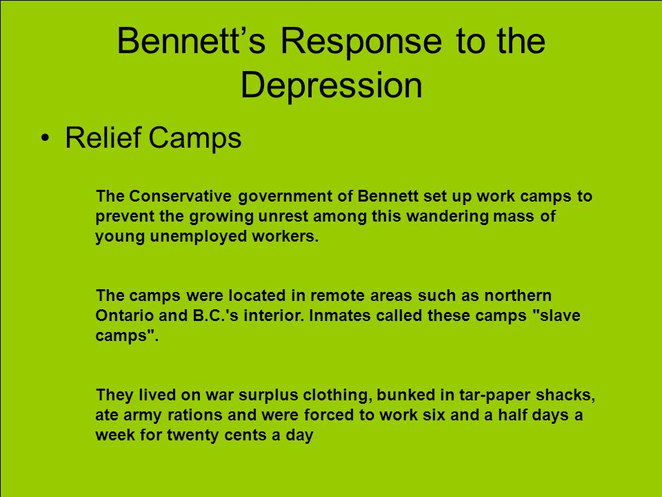 Bennett's Response to the Depression