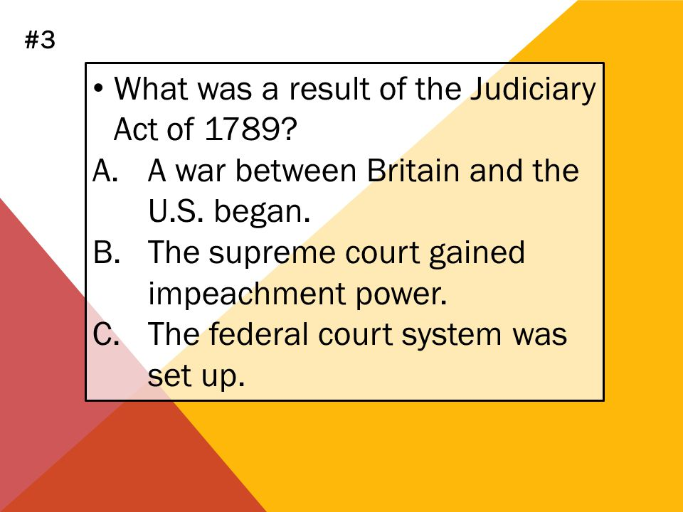 What was a result of the Judiciary Act of 1789