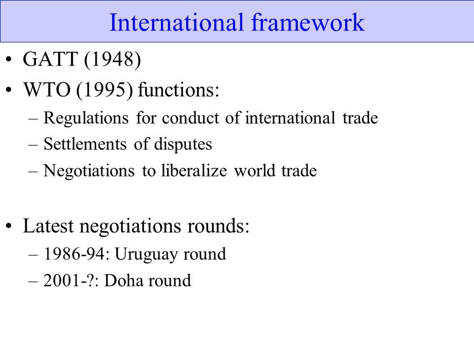 International framework