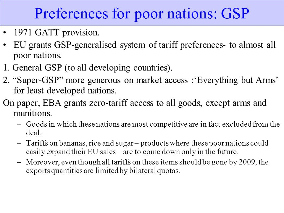 Preferences for poor nations: GSP