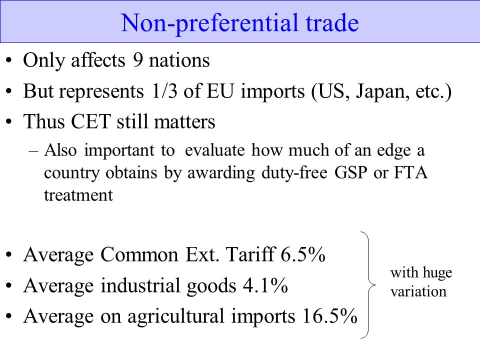 Non-preferential trade