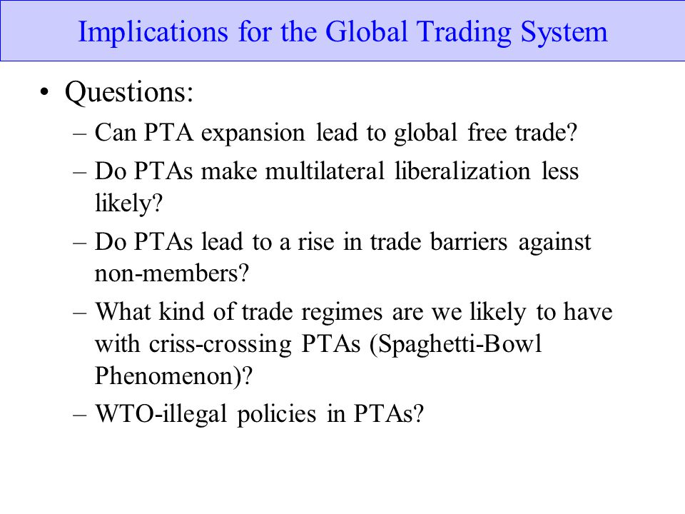 Implications for the Global Trading System