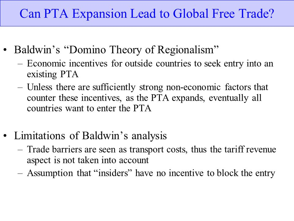 Can PTA Expansion Lead to Global Free Trade