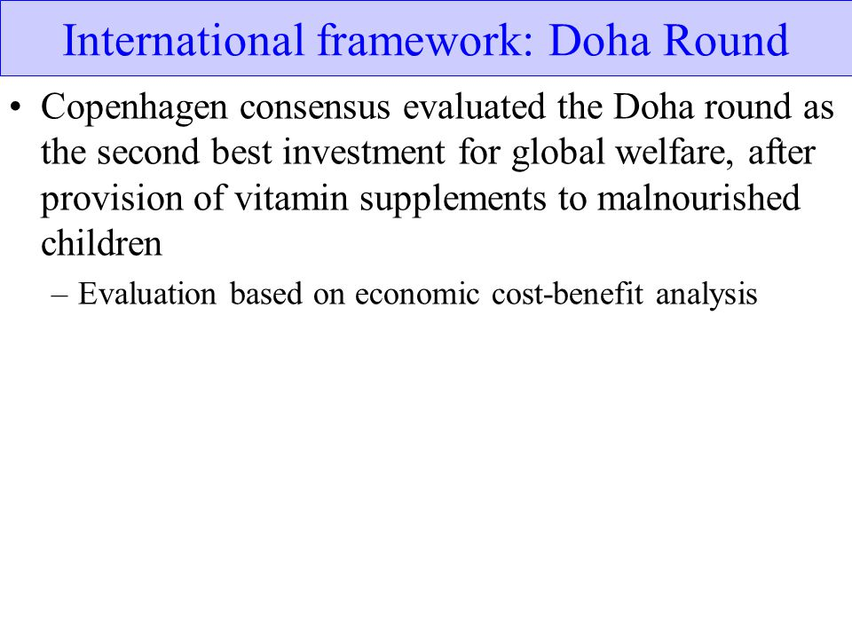 International framework: Doha Round