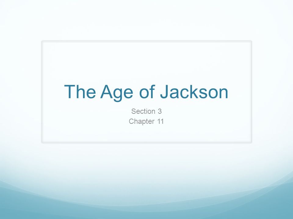 The Age of Jackson Section 3 Chapter 11