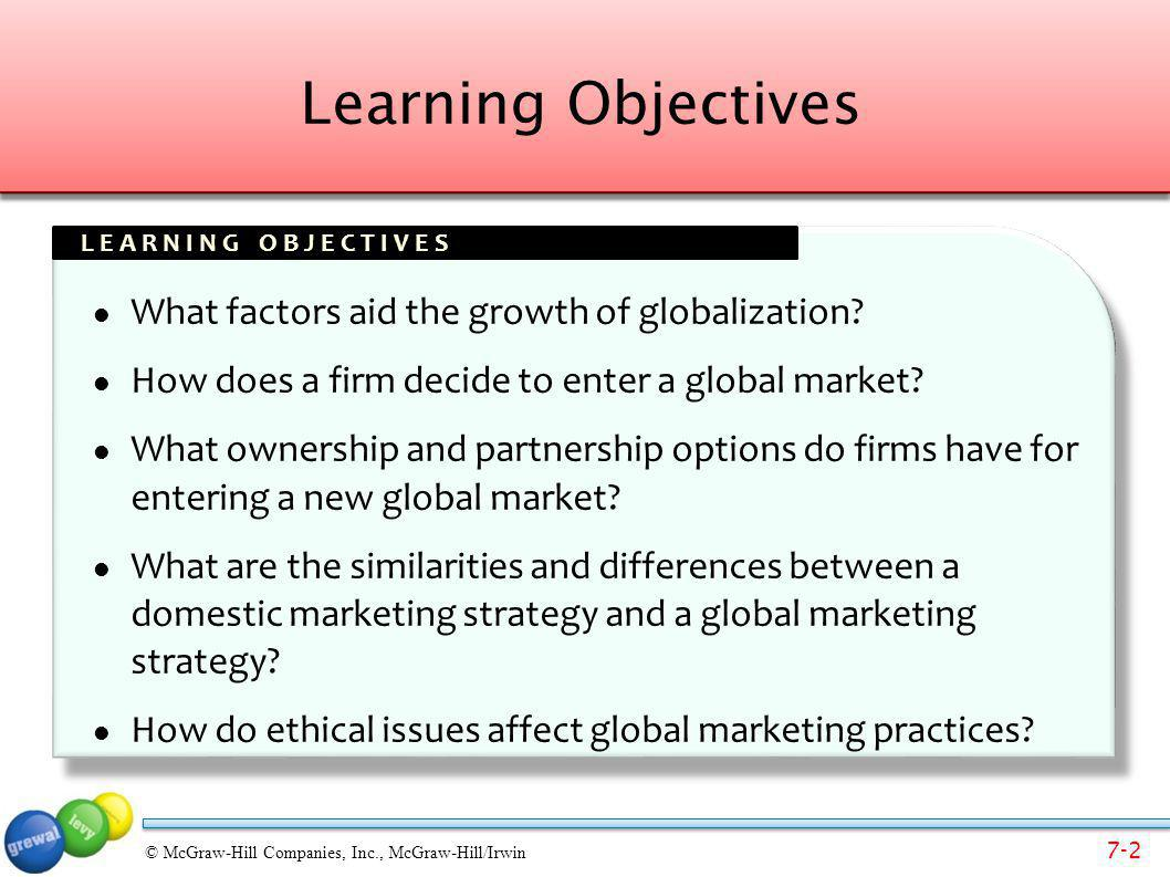 Learning Objectives What factors aid the growth of globalization