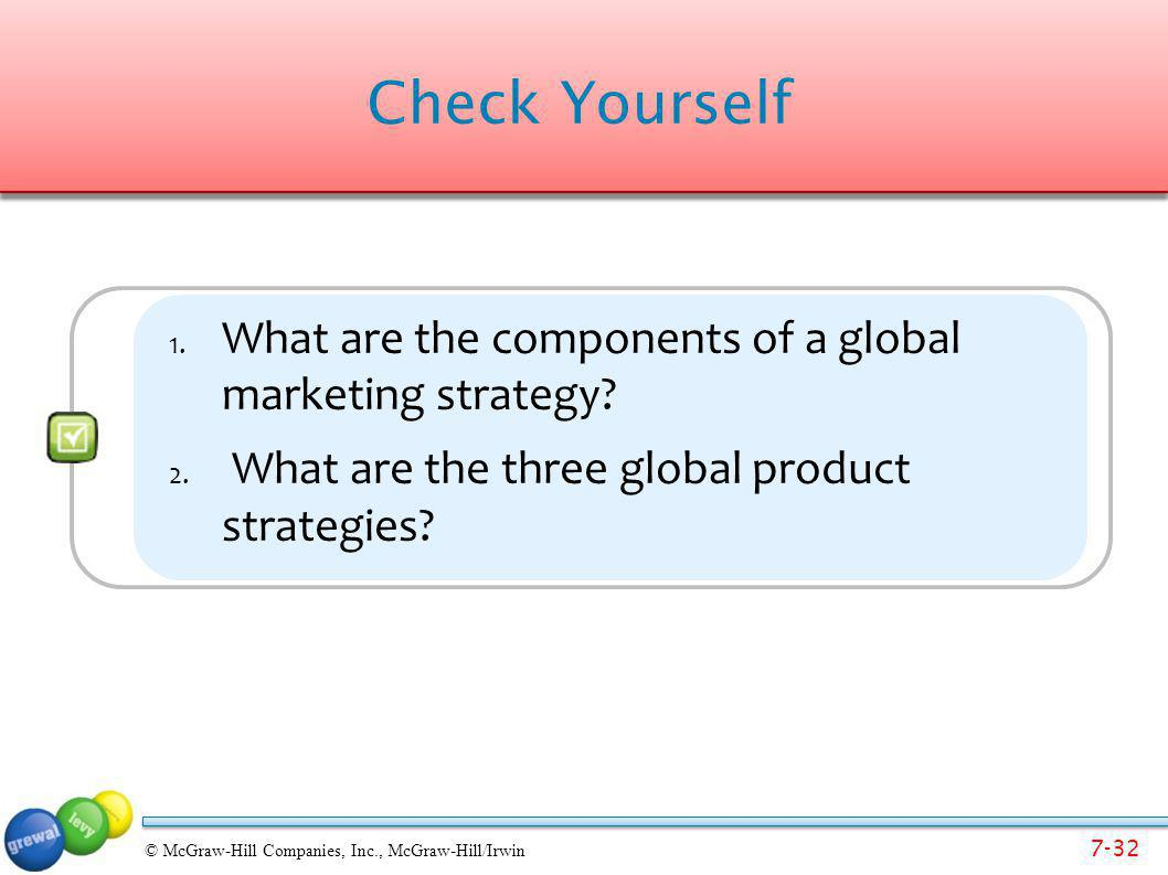 Check Yourself What are the components of a global marketing strategy