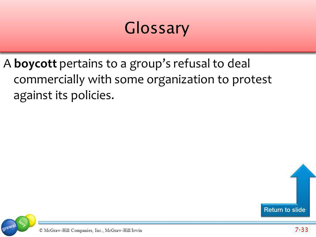Glossary A boycott pertains to a group's refusal to deal commercially with some organization to protest against its policies.