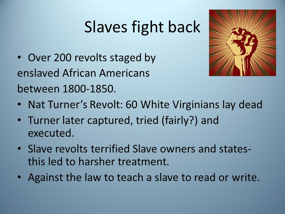 Slaves fight back Over 200 revolts staged by