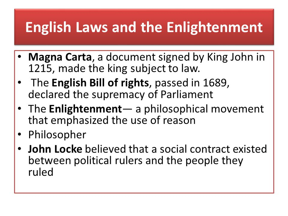 English Laws and the Enlightenment
