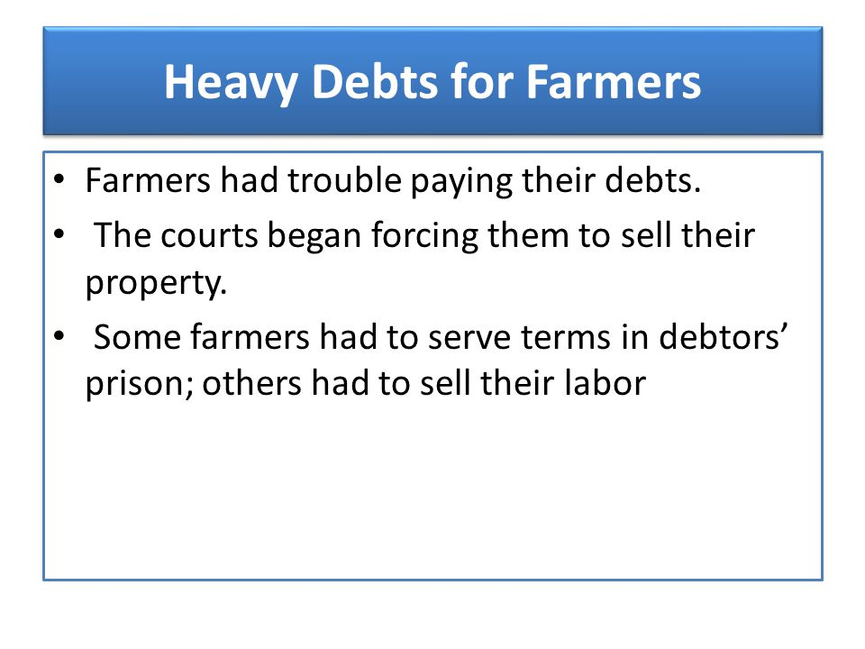 Heavy Debts for Farmers