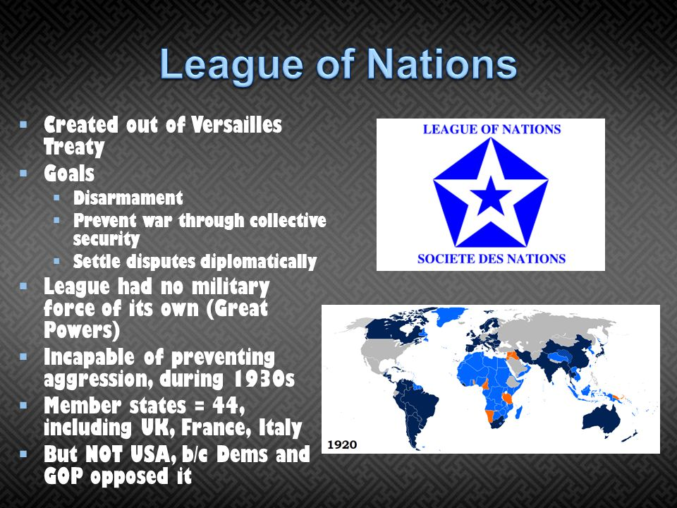 League of Nations Created out of Versailles Treaty Goals