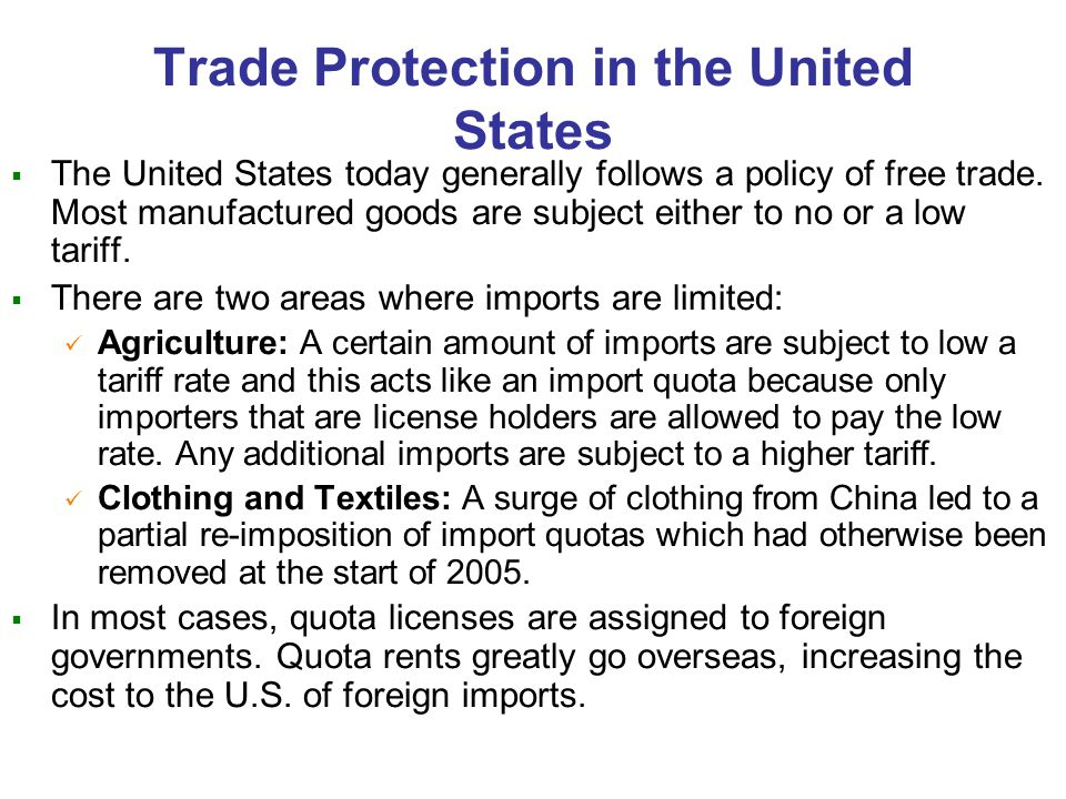Trade Protection in the United States