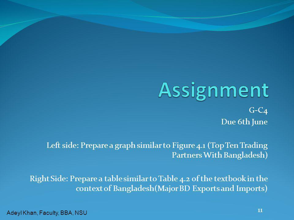 Assignment G-C4 Due 6th June